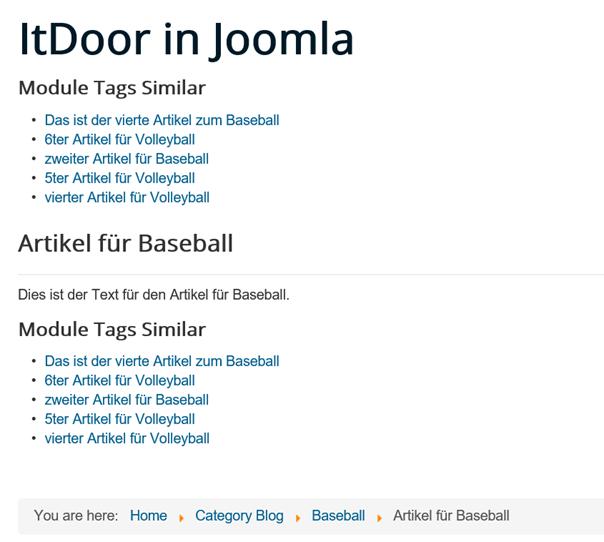 Joomla Website mit Modul Schlagwörter Ähnliche direkt und im Artikel