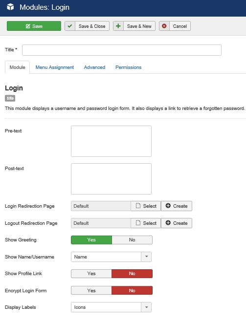 Joomla Modul Benutzer Anmeldung linke Seite der Maske