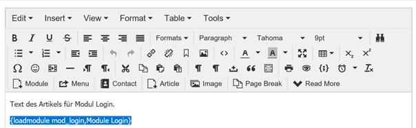 Joomla Article mit integriertem Modul Login