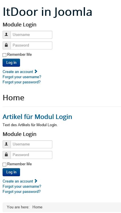 Joomla Website mit Modul Benutzer Anmeldung direkt und im Artikel