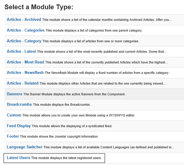 Joomla Liste Module Types mit Module Latest Users