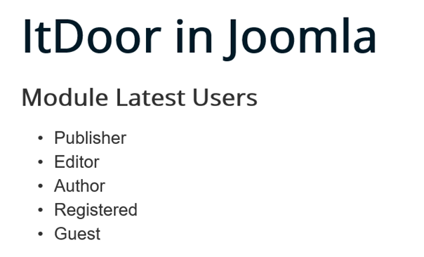 Joomla Website Module Latest Users Standardeinstellungen