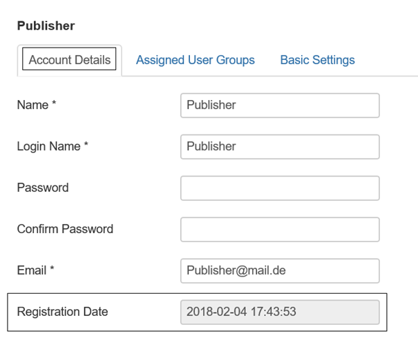 Joomla Feld Registration Date in den Stammdaten des Benutzers