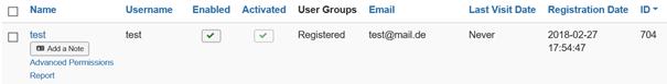 Der Wert des Feldes Registration Date in der Benutzerübersicht