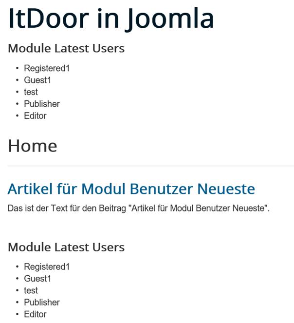 Joomla Website mit Modul Benutzer Neueste direkt und im Artikel