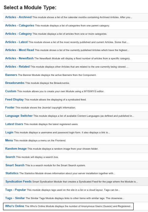 Joomla Liste Module Types mit Module Who's Online