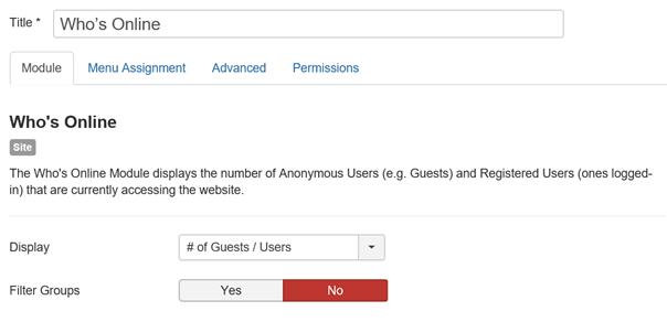 Joomla Modul Benutzer Wer ist online linke Seite der Maske
