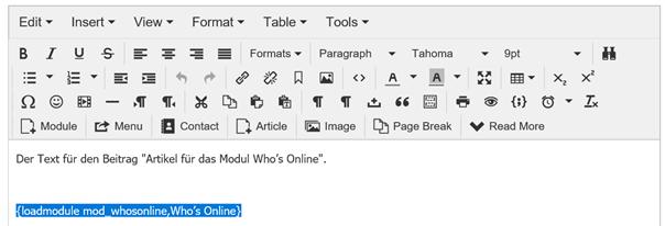 Joomla Article mit integriertem Modul Who's Online