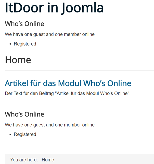 Joomla Website mit Modul Wer ist online direkt und im Artikel