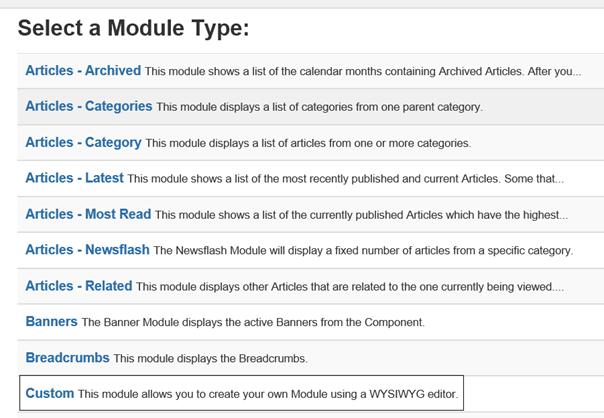 Auswahl Modultyp Custom um Bilder auf der Joomla Website mit Hilfe eines Moduls zu zeigen