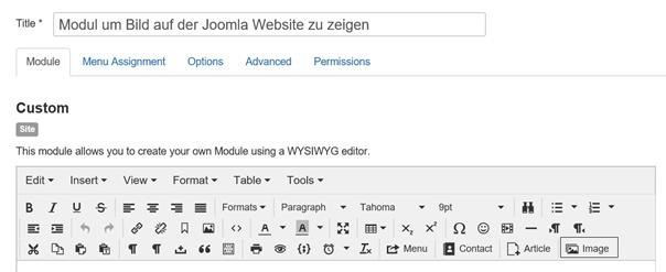 Modul Typ Custom um Bilder auf der Joomla Website mit Hilfe eines Moduls zeigen