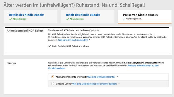 Anmeldung bei KDP Select Klaus Normal