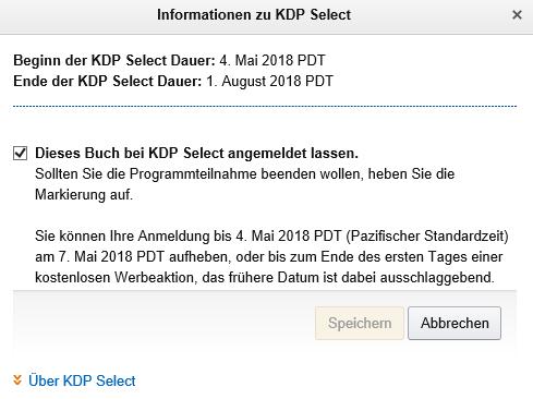 Die ersten Tage kann man die Anmeldung zu KDP Select zurücknehmen Klaus Normal