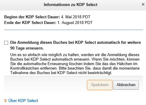Keine automatische Verlöngerung bei KDP Select Klaus Normal