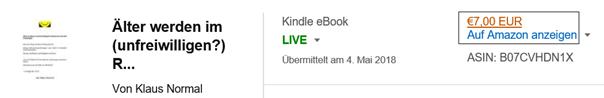 Der erste Weg für Änderungen des E-Books in KDP bzw. Amazon Klaus Normal