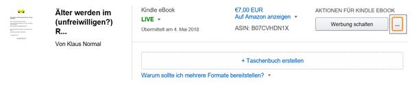 Der zweite Weg für Änderungen des E-Books in KDP bzw. Amazon Klaus Normal
