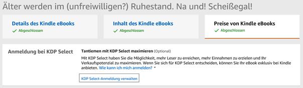 Änderungen des E-Books in KDP bzw. Amazon – Änderung der KPD Select Anmeldung Klaus Normal
