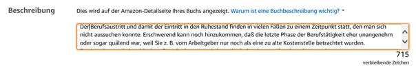 Änderungen des E-Books in KDP bzw. Amazon – Änderung der Buchbeschreibung Klaus Normal