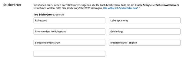 Änderungen des E-Books in KDP bzw. Amazon – Änderung der Stichwörter Klaus Normal