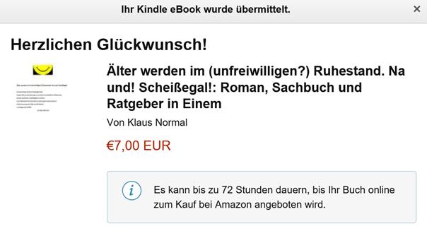 Abschlußmeldung nach den Änderungen beim E-Book Klaus Normal