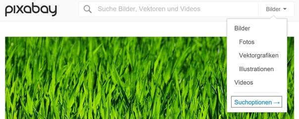 Suchhilfe von Pixabay mit Hinweis auf Suchoptionen Klaus Normal