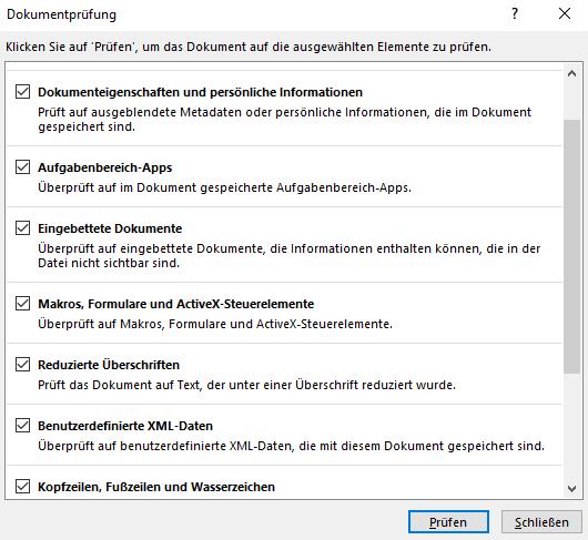 Word Dokumentprüfung Dokumenteneigenschaften und persönliche Informationen