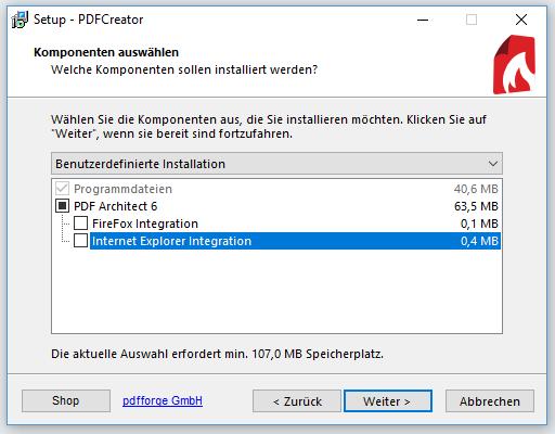 PDF Creator Komponenten auswählen