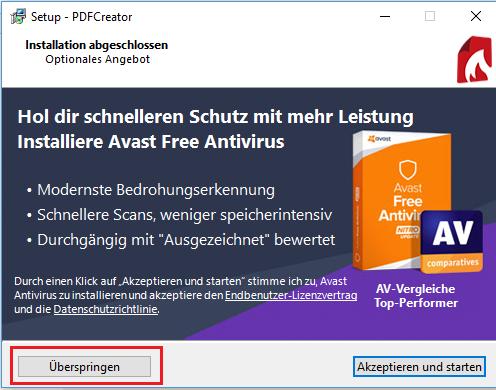 Installation PDFCreator ist abgeschlossen - zusätzlich wird noch ein Antivirus Programm angeboten