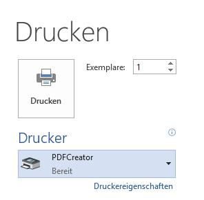 Word PDFCreator als Drucker bereit