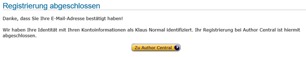 Author Central Registrierung abgeschlossen Klaus Normal