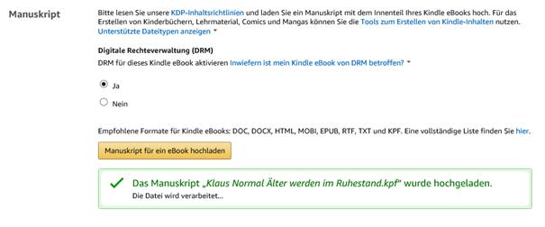 E-Book in KPD bzw  Amazon hochladen - Erfolgsmeldung - ItDoor
