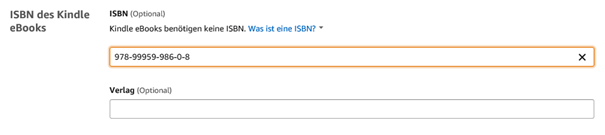 Optionale Eingabe ener ISBN Nummer für ein Amazon E-Book Klaus Normal