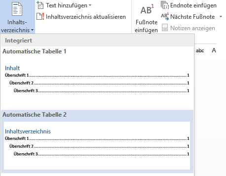 """Inhaltsverzeichnis """"Automatische Tabelle 2"""" Word"""