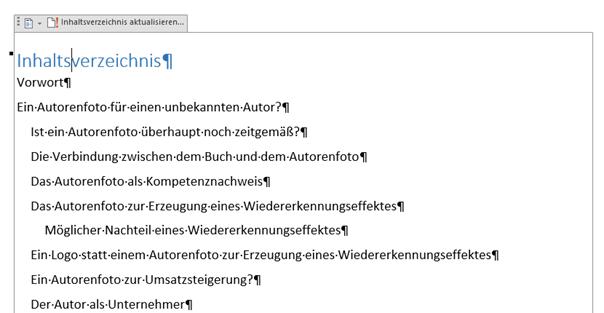 Word Inhaltsverzeichnis ohne Seitenzahlen