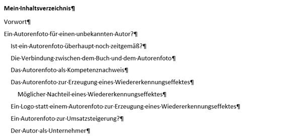 zweites Beipiel Word Inhaltsverzeichnis ohne Seitenzahlen