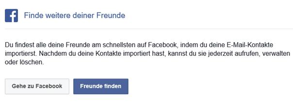 Aufforderung von Facebook private E-Mail Kontakte in Facebook zu importieren