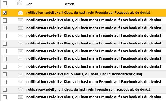 Mails von Facebook damit man private E-Mail Kontakte importiert