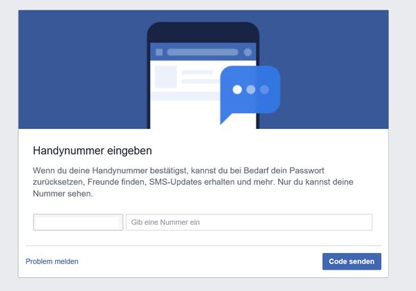 Schritt 2: Facebook verlangt die Eingabe der Handynummer