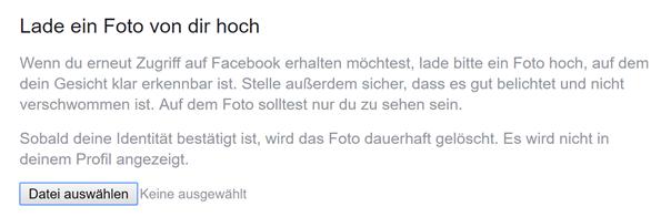 Schritt 3: Facebook will noch zusätzlich ein Foto haben
