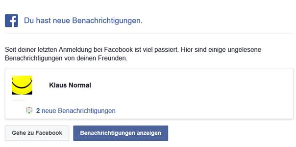 Facebook teilt während der Kontosperrung mit, daß es neue Benachrichtigungen gibt