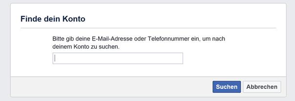 Facebook: Finde dein Konto