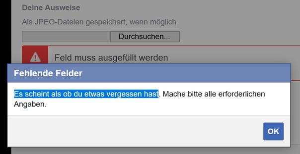 Meldung von Facebook wenn man seinen Ausweis nicht hochlädt