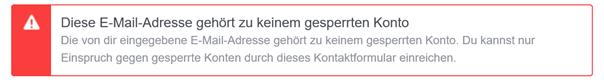 Facebook: Diese E-Mail-Adresse gehört zu keinem gesperrten Konto