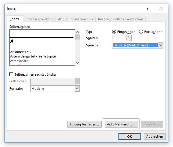Word Stichwortverzeichnis Funktion Automarkierung