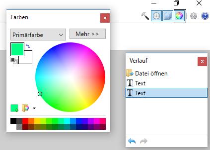 Farbauswahl für Textfarbe bei PAINT.NET