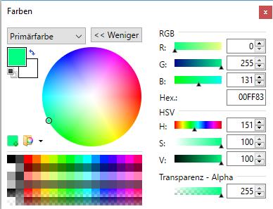 """Farbauswahl für Textfarbe bei PAINT.NET auf Button """"Mehr"""" geklickt"""