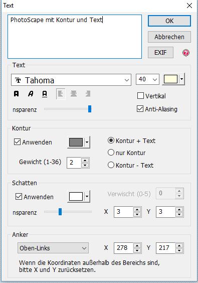 PhotoScape Textverarbeitungsfunktionen auf einen Blick