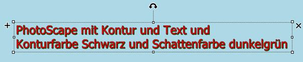 PhotoScape-Texteffekt mit Textfarbe, mit Konturfarbe und mit Schattenfarbe