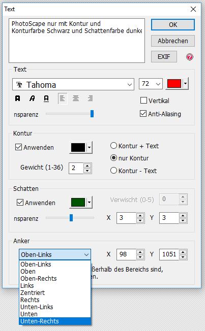 Ankersetzung für den Textteil bei PhotoScape