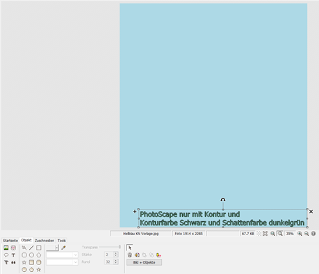 PhotoScape Anker für Textteil unten rechts